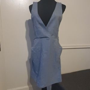 H&M Dark Gray Striped V-Neck Dress
